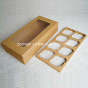 Take out Paper Cupcake Box/ Kraft Cardboard Paper Cupcake Box with Insert and Clear Window pictures & photos
