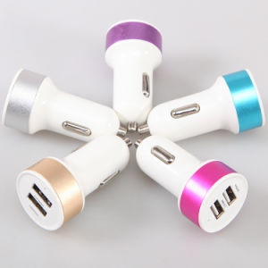 Dk-19 Hot Selling High Quality Aluminum Dual USB Car Charger CE RoHS for iPhone