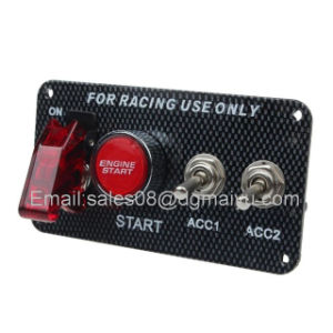 Carbon Fiber Racing Car 12V Ignition Switch Panel Engine Start Push Button LED Toggle pictures & photos