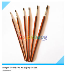6PCS Wooden Handle Animal Fiber Hair Artist Brush for Painting and Drawing (Brown color) pictures & photos
