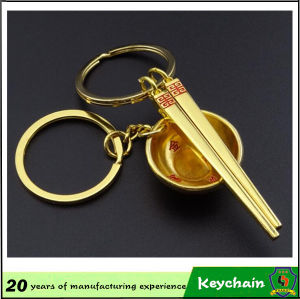 3D Gold Color Bowl and Chopsticks Key Chain for Lovers pictures & photos