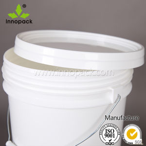 19L White Round Plastic Bucket Paint Bucket with Plastic Lid and Metal Handle pictures & photos