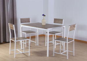 Simple Style Rectangle Dining Table/Set, White Frame Tube