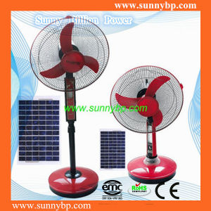 Red Rechargeable Color Stand Solar Fan with LED Light pictures & photos