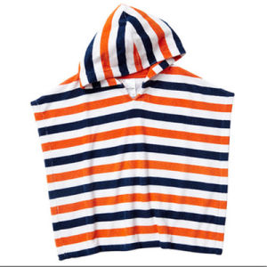 Competitive Stripe Design Printing Kids′bath Poncho Beach Poncho pictures & photos