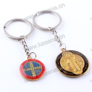 China Factory Zinc Alloy Catholic Souvenir St. Benedict Fashion Religious Keychain