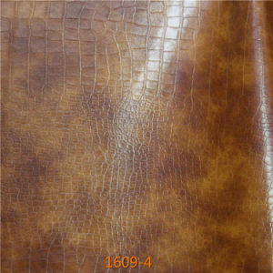 Exported Quality Fake Crocodile PU Microfiber Leather for Furniture Upholstery pictures & photos