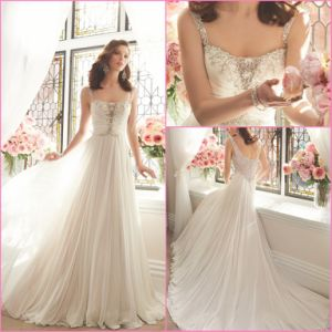 Wedding Dresses Chiffon Empire Sheer Bridal Prom Dress Y201644 pictures & photos