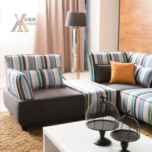 Modern Stripe Fabric Sofa (803) pictures & photos