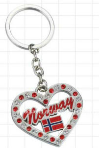 Heart-Shaped Zinc Alloy Diamond Key Chain Souvenir pictures & photos