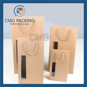 Thick High Quality Brown Paper Bag with Transparent Window (DM-GPBB-190) pictures & photos