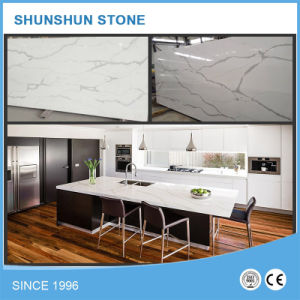 White Calacatta Artificial Quartz Stone Kitchen Island Top pictures & photos