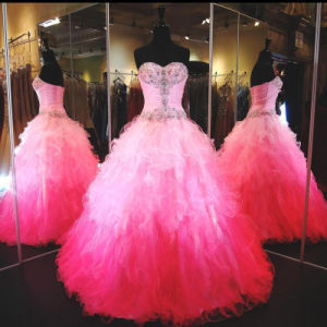 Pink Quinceanera Dresses Sweetheart Crystal Prom Ball Gowns Q201628 pictures & photos