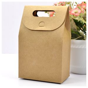 Brown Craft Bag Box with Handle pictures & photos