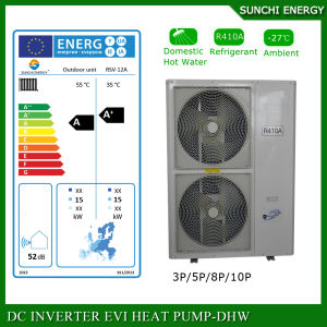 Amb. -25c Winter Floor Heating Room 12kw/19kw 220V R407c Condensor Split Evi Air Source Heat Pump System pictures & photos