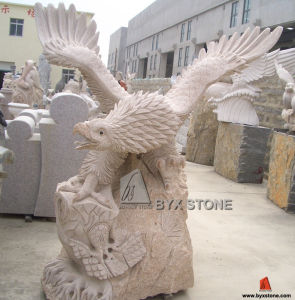 Yellow Granite Stone Garden Eagle Sculptures for Outdoor Decoration pictures & photos