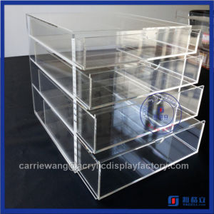 China Factory Handmade Acrylic 4 Makeup Drawers / Acrylic Makeup Organizer with Drawers pictures & photos