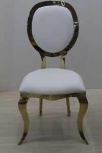Golden Stainless Steel White Wedding Chair pictures & photos