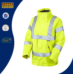 Hi Vis Reflective Safety Breathable Waterproof Jacket in Yellow/Orange