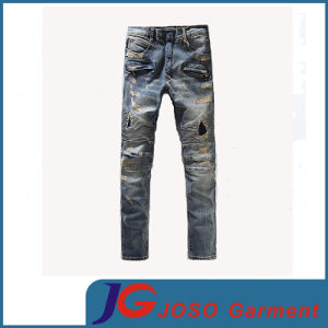 Distressed Patchwork Accent Rust Washing Jeans Scratch Men Washed Hole Jeans (JC3400) pictures & photos