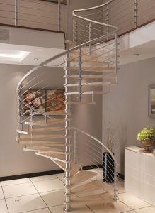 Customized Indoor Wooden Staricase Spiral Design pictures & photos