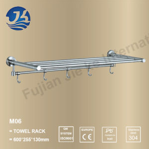 Upward Turning Stainless Steel Bathroom Double Shelf Towel Rack (M06) pictures & photos