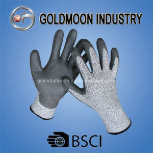 Grey Hppe with PU Coated Cut Resistance Level 5 Safety Work Glove pictures & photos