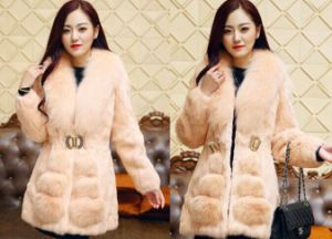 High Quality Women′s Coat Made of Real Fox Fur