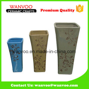 Tall Square Ceramic Decorative Vase for Home Decor pictures & photos