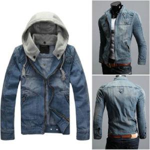 Mens Vintage Classic Detachable Hood Denim Jacket pictures & photos