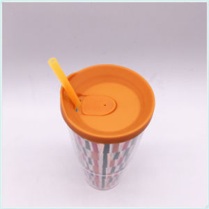 Food Safe Plastic Coffee Cups with Straw (SH-PM34) pictures & photos