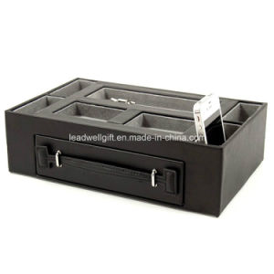 Black Leather Valet Jewelry Box with Pen and Watch Drawer Catchall Tray pictures & photos