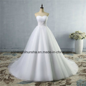 A-Line Sheer Neckline with Crystal Beaded Tulle Lace Wedding Dress pictures & photos