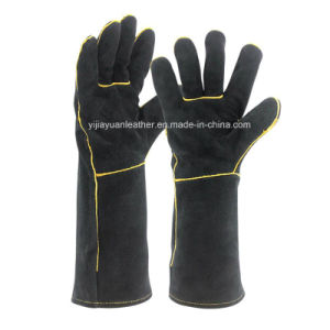 Black BBQ Gloves Welding Leather Gloves for Welders pictures & photos