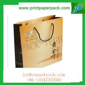 Color Printed Kraft Sos Paper Bags Lunch Food Carrier Takeaway Handles pictures & photos