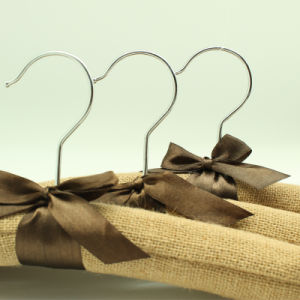 Linen Padded Wooden Hanger with Bow pictures & photos