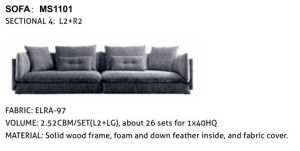 Big Size Modern Fabric Sectional Sofa for Living Room (Ms1101) pictures & photos
