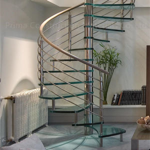 Metal Indoor Stainless Steel Wood Spiral Stairs Manufacturer pictures & photos