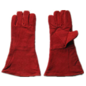 Red Cow Split Leather Welding Work Glove pictures & photos