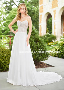 A-Line Wedding Dresses Lace Beaded Beach Garden Traveling Wedding Gown H2018126 pictures & photos