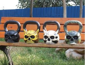 Casting Iron Customized OEM Sculpted Ape Head Skull Shaped Kettlebell with Face pictures & photos