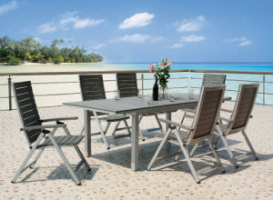 7-PC Patio Living Stackable Dining Set with Foldable Chairs