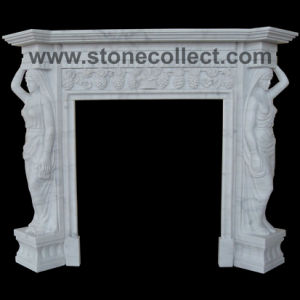 Pure White Marble Fairplace Mantle With Carved Sculpture pictures & photos