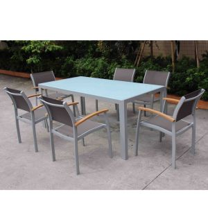 Best Choices Euro Modern Hotel Outdoor Furniture 7 Piece Sling Back Patio Dining Furniture Set (D560; S260) pictures & photos