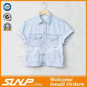 China Factory Women Denim Coat Clothing with Short Sleeve