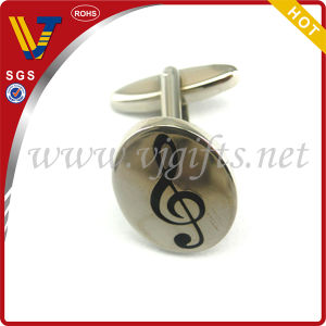Music Symbol Elliptic Cufflinks for Men′s Decoration (WHCL-0030)
