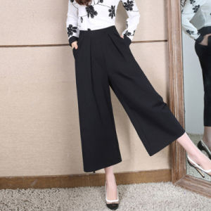 2016 New Fashion Pants European Style Lady Design Wide Leg Trouser Casual Elegant Women High Waist Palazzo pictures & photos