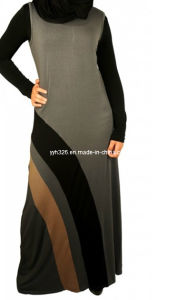 2014 New Style Contrast Color Muslim Clothing Long Sleeve Abaya Dress