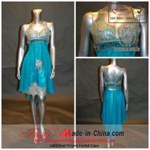 a-Line Princess Spaghetti Sweetheart Short Mini Chiffon Dress with Beading Beading Brooch (5677)