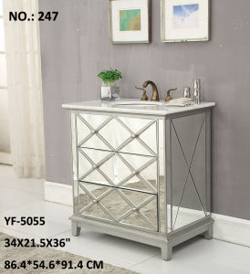 Modern Vanity Cabinet with W/3 Drawer/Silver/Clear Mirror pictures & photos